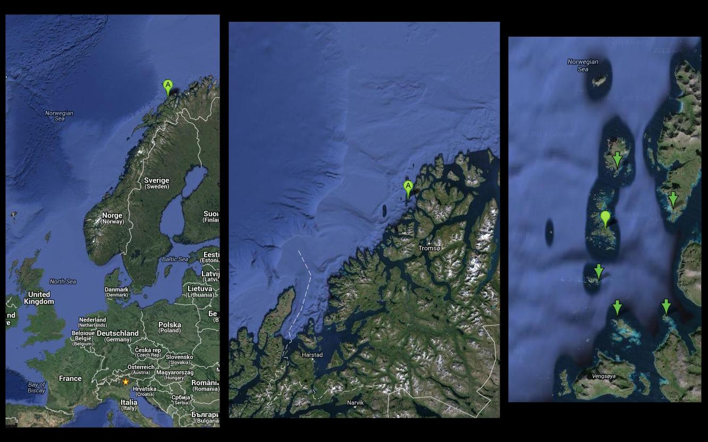 tra Gåsvær, Måsvik, (Molvik?), Risøya, Lingøy and Musvaer